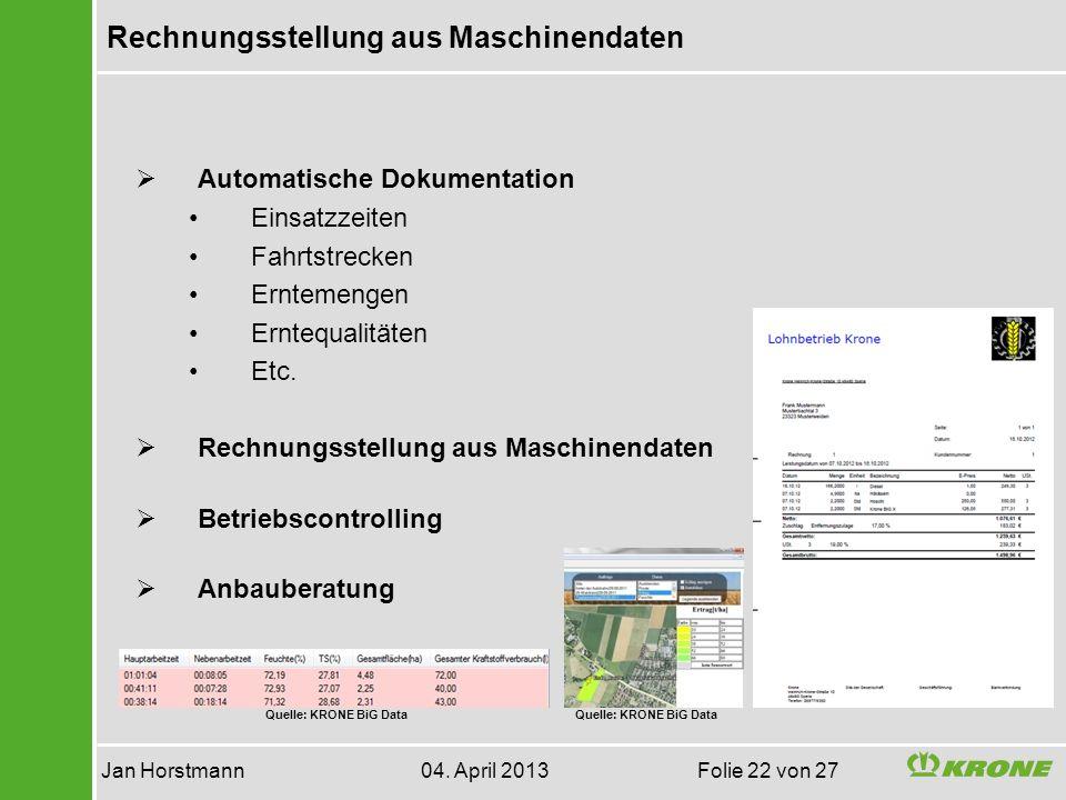 Rechnungsstellung aus Maschinendaten