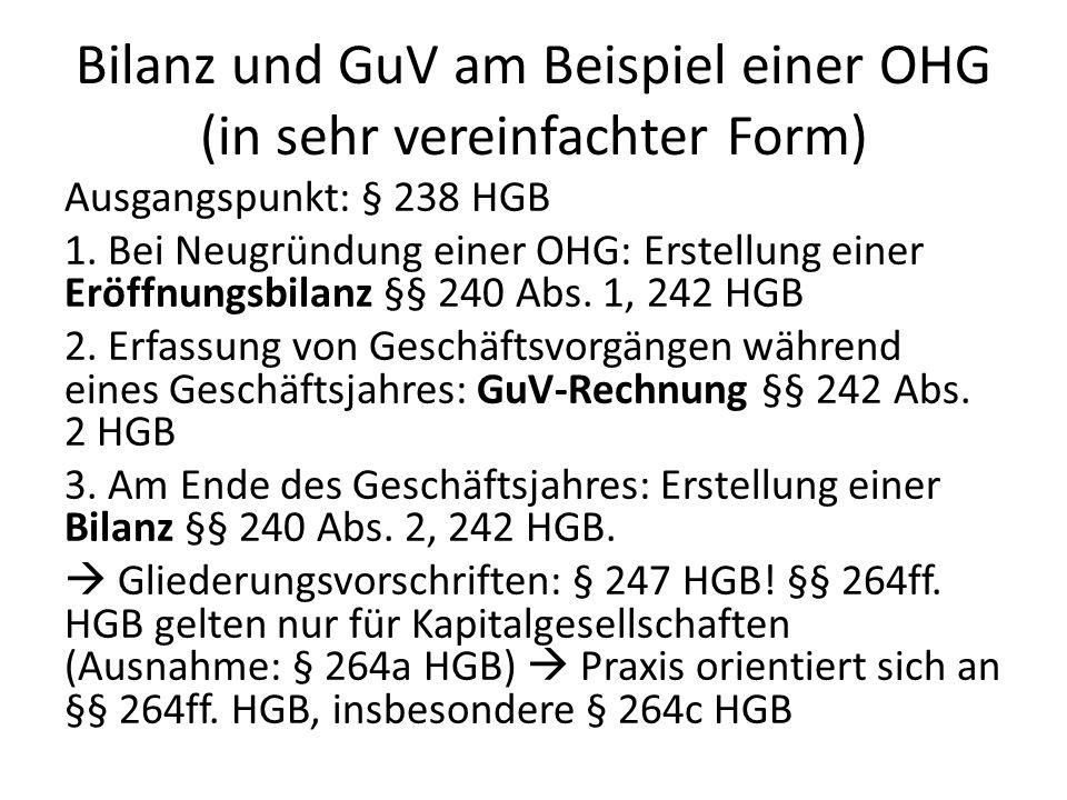 Bilanz und GuV am Beispiel einer OHG (in sehr vereinfachter Form)