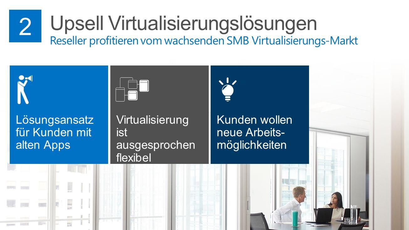 2 Upsell Virtualisierungslösungen Reseller profitieren vom wachsenden SMB Virtualisierungs-Markt. Lösungsansatz für Kunden mit alten Apps.