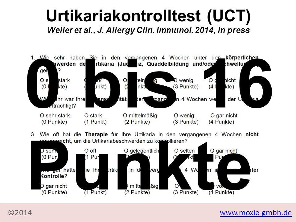 0 bis 16 Punkte Urtikariakontrolltest (UCT)