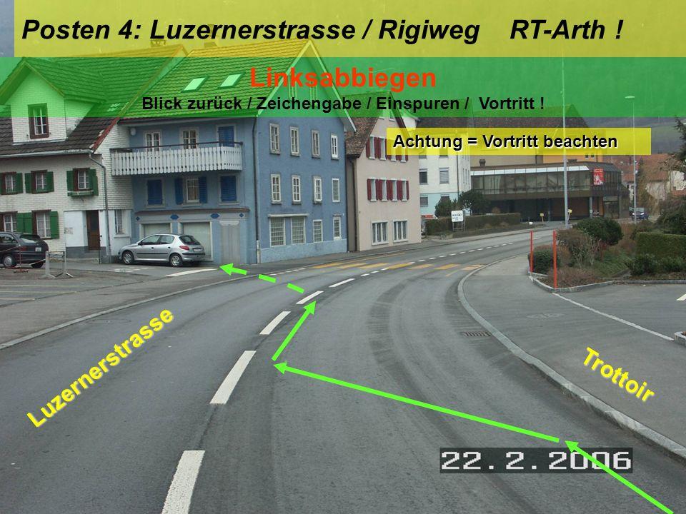 Linksabbiegen Blick zurück / Zeichengabe / Einspuren / Vortritt !