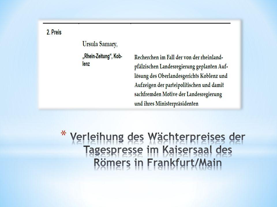 Verleihung des Wächterpreises der Tagespresse im Kaisersaal des Römers in Frankfurt/Main