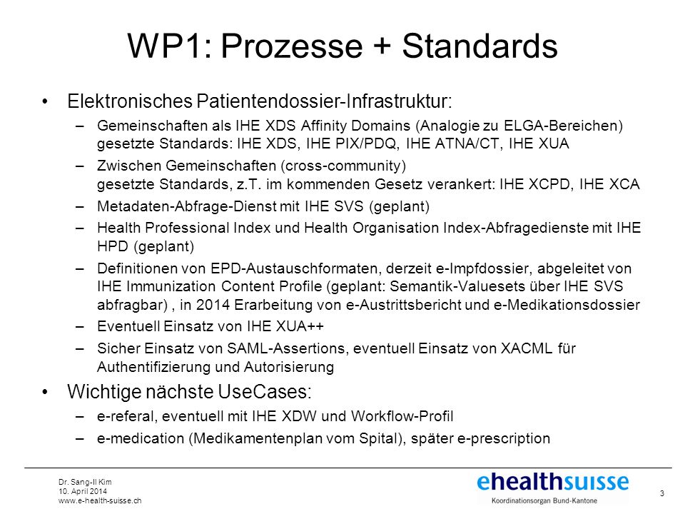 WP1: Prozesse + Standards