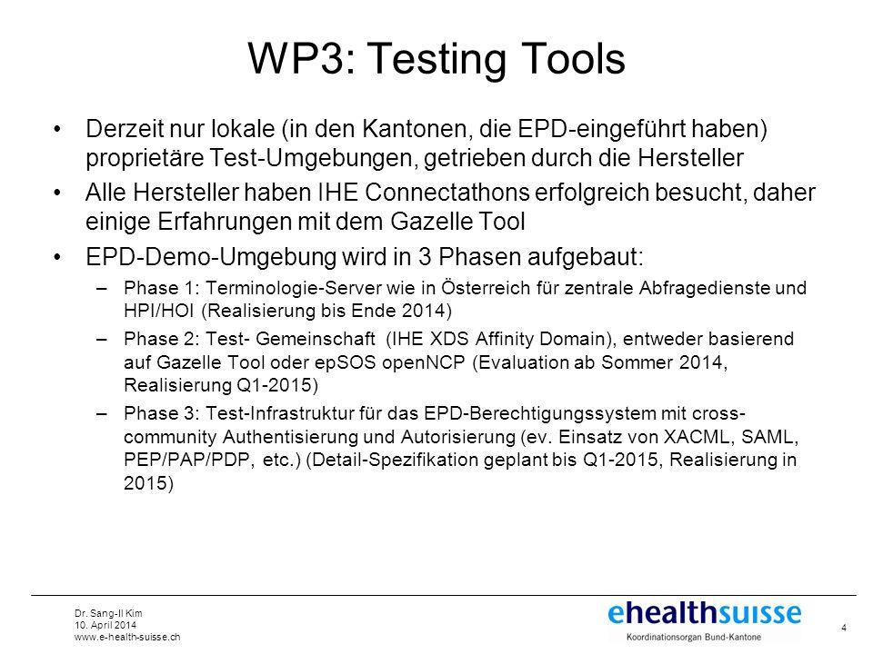WP3: Testing Tools Derzeit nur lokale (in den Kantonen, die EPD-eingeführt haben) proprietäre Test-Umgebungen, getrieben durch die Hersteller.