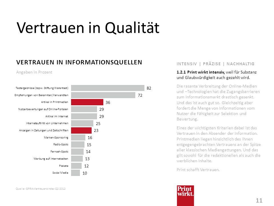 Vertrauen in Qualität Vertrauen in Informationsquellen