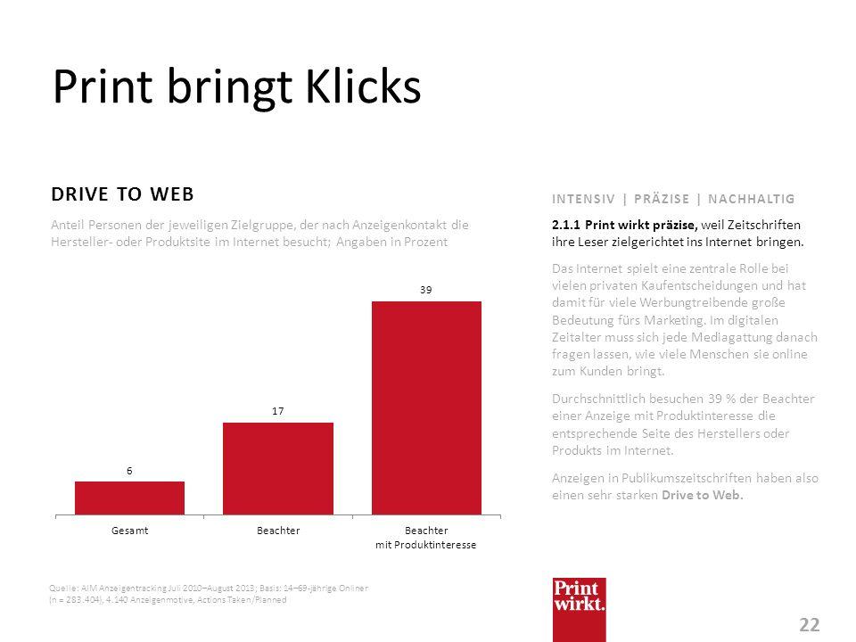 Print bringt Klicks Drive to web INTENSIV | PRÄZISE | NACHHALTIG