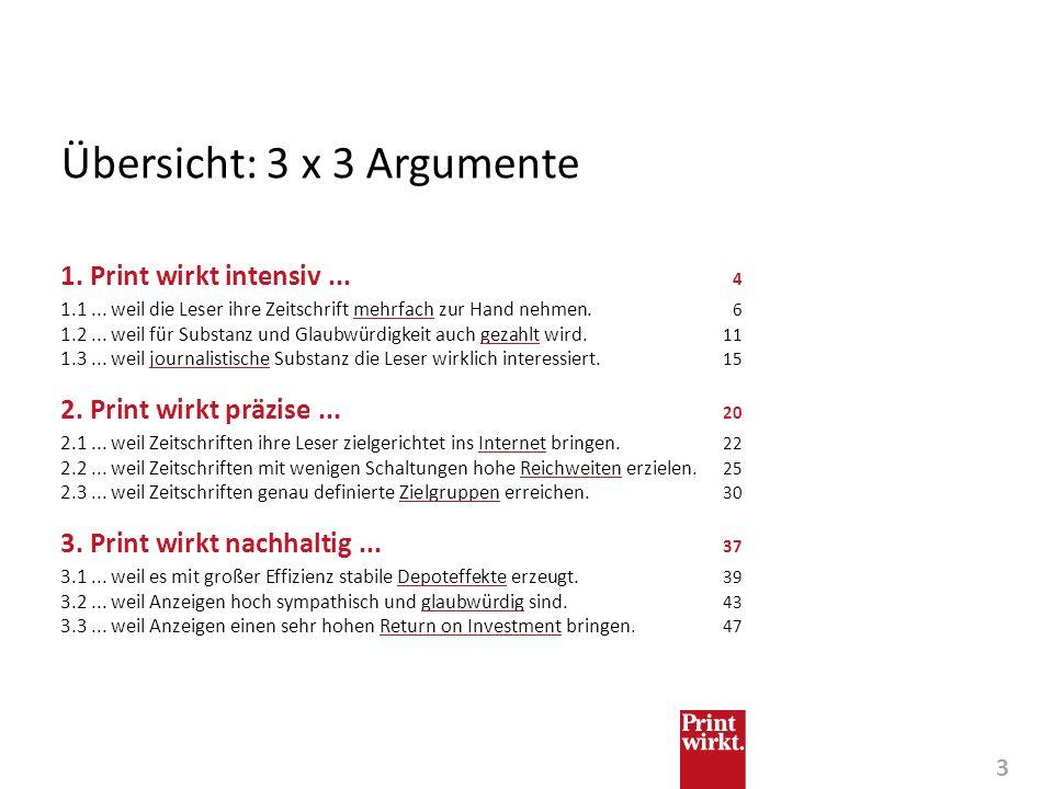 Übersicht: 3 x 3 Argumente