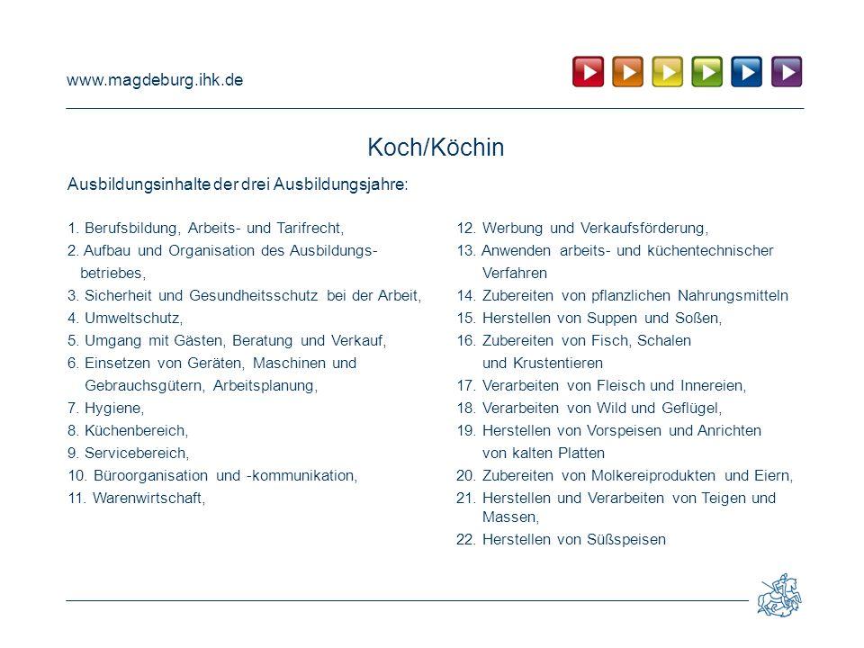 Koch/Köchin Ausbildungsinhalte der drei Ausbildungsjahre: