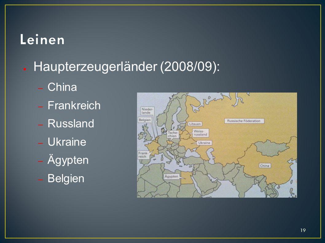 Leinen Haupterzeugerländer (2008/09): China Frankreich Russland