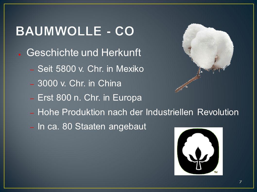 BAUMWOLLE - CO Geschichte und Herkunft Seit 5800 v. Chr. in Mexiko