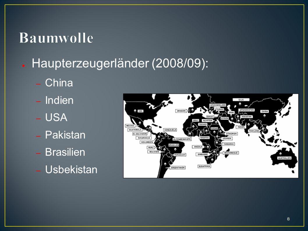 Baumwolle Haupterzeugerländer (2008/09): China Indien USA Pakistan