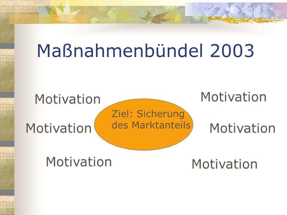 Maßnahmenbündel 2003 Motivation Motivation Motivation Motivation