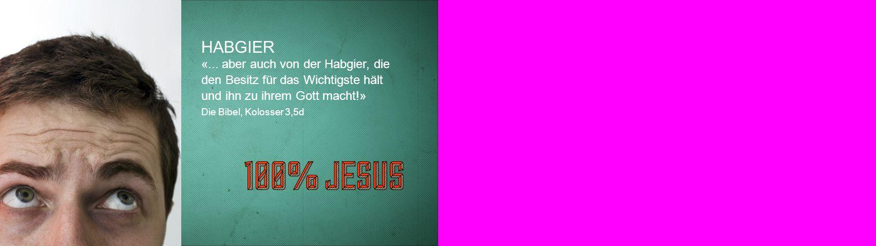 HABGIER «... aber auch von der Habgier, die den Besitz für das Wichtigste hält und ihn zu ihrem Gott macht!»