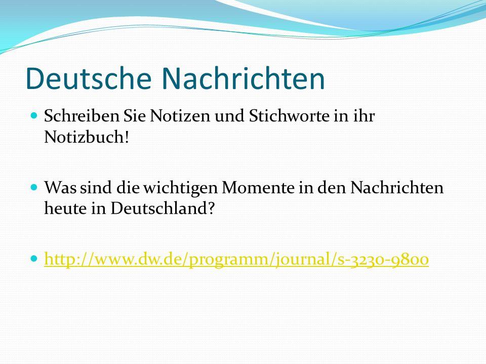 Deutsche Nachrichten Schreiben Sie Notizen und Stichworte in ihr Notizbuch! Was sind die wichtigen Momente in den Nachrichten heute in Deutschland