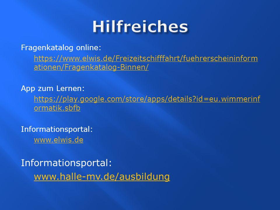 Hilfreiches www.halle-mv.de/ausbildung Fragenkatalog online: