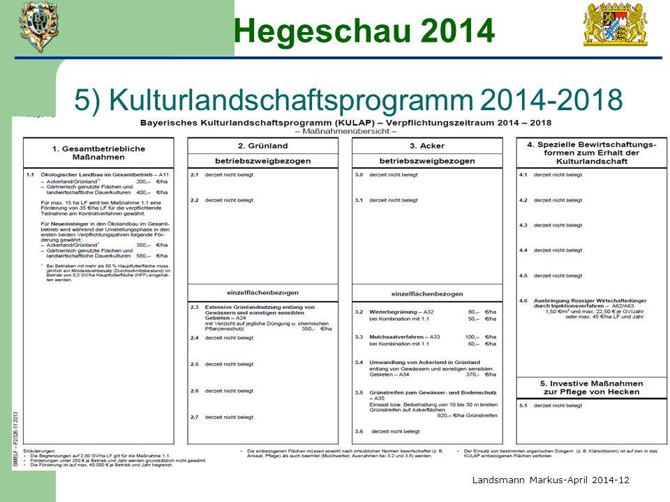 Hegeschau 2014 5) Kulturlandschaftsprogramm 2014-2018