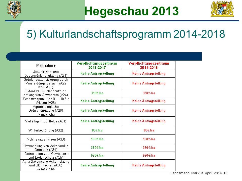 Hegeschau 2013 5) Kulturlandschaftsprogramm 2014-2018