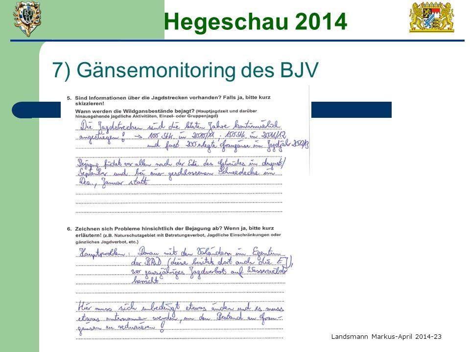 Hegeschau 2014 7) Gänsemonitoring des BJV