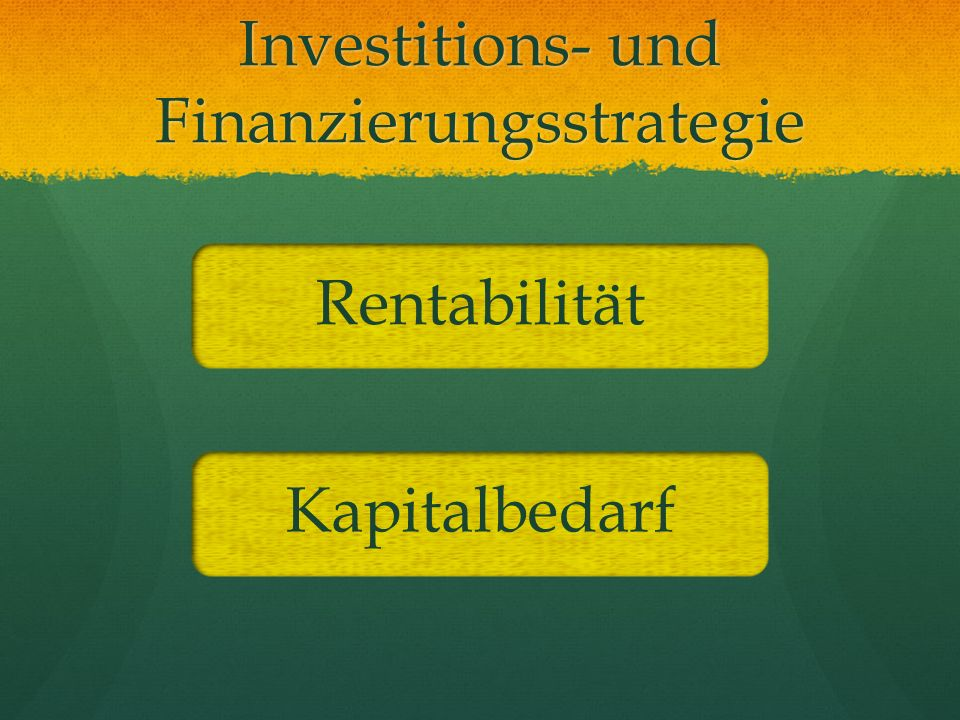 Investitions- und Finanzierungsstrategie
