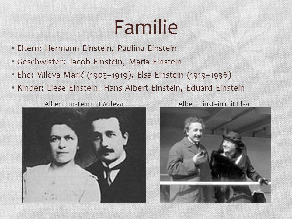 Familie Eltern: Hermann Einstein, Paulina Einstein