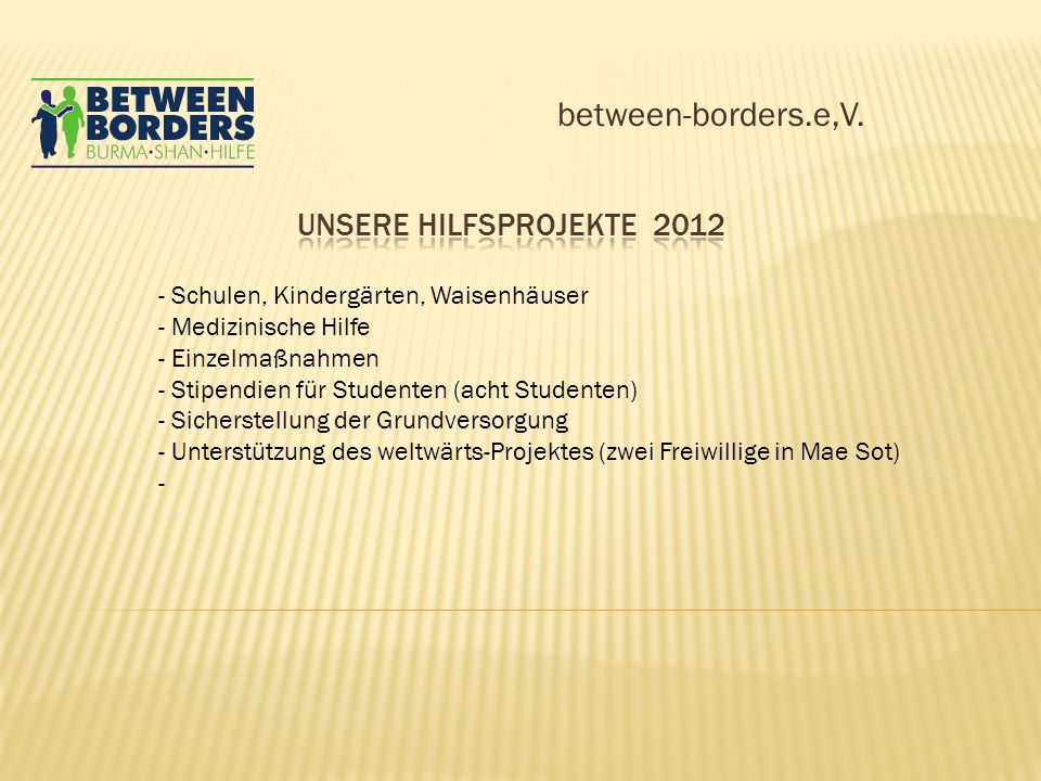 between-borders.e,V. Unsere Hilfsprojekte 2012