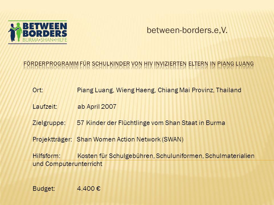 between-borders.e,V. Förderprogramm für Schulkinder von HIV invizierten Eltern in Piang Luang.