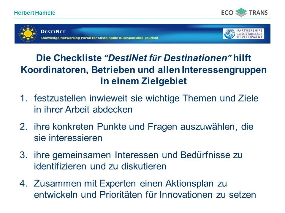 Die Checkliste DestiNet für Destinationen hilft Koordinatoren, Betrieben und allen Interessengruppen in einem Zielgebiet