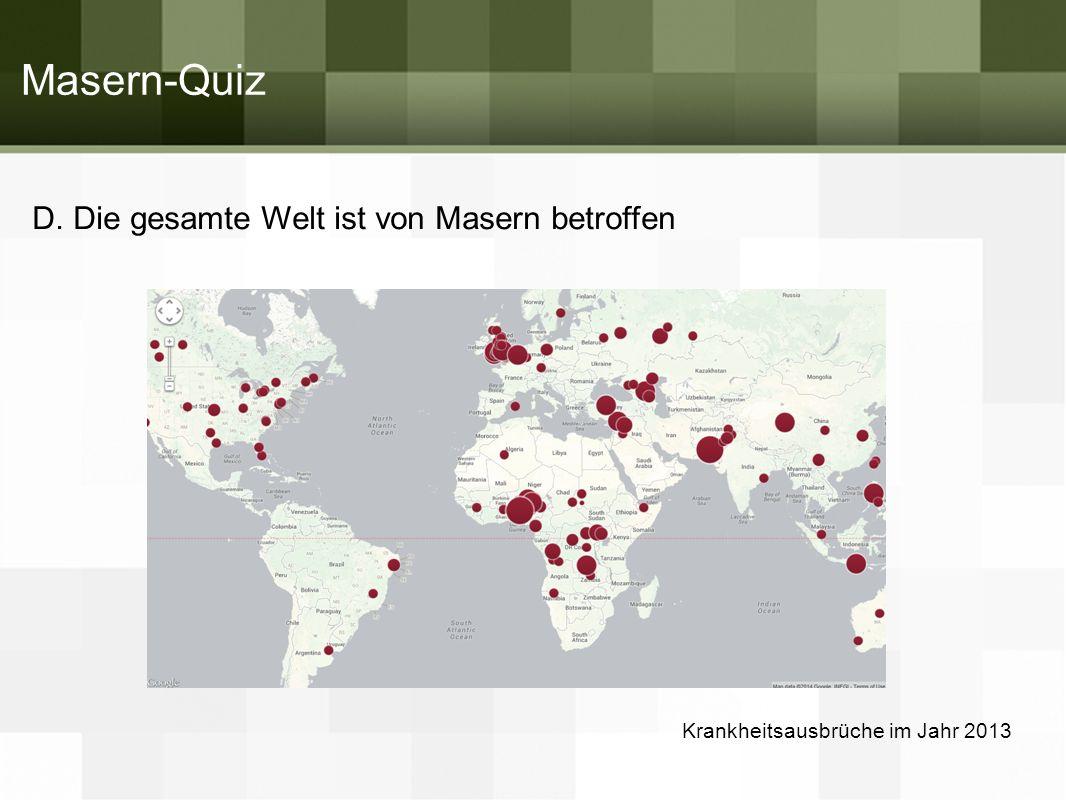 Masern-Quiz D. Die gesamte Welt ist von Masern betroffen