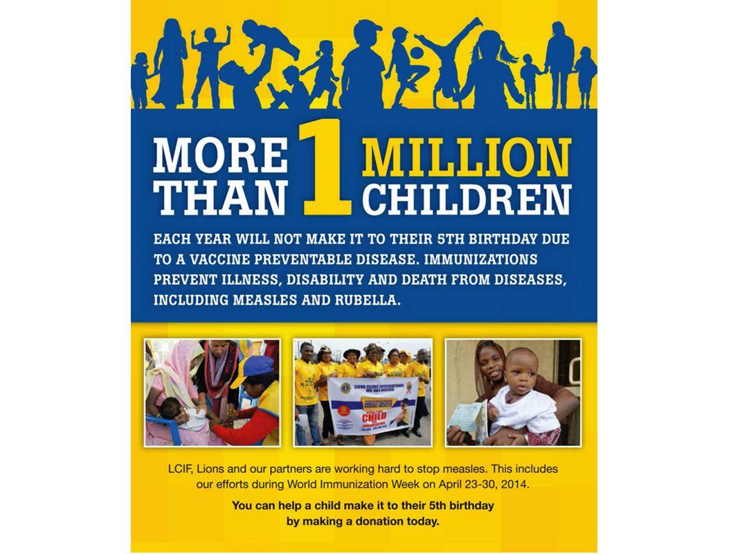 Mehr als 1 Million Kinder im Jahr erleben aufgrund einer Krankheit, die durch Impfung vermeidbar gewesen wäre, ihren 5.