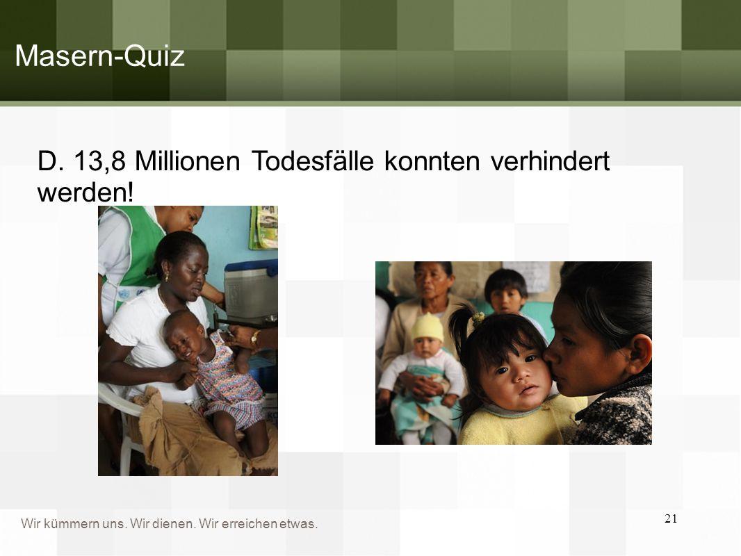Masern-Quiz D. 13,8 Millionen Todesfälle konnten verhindert werden!