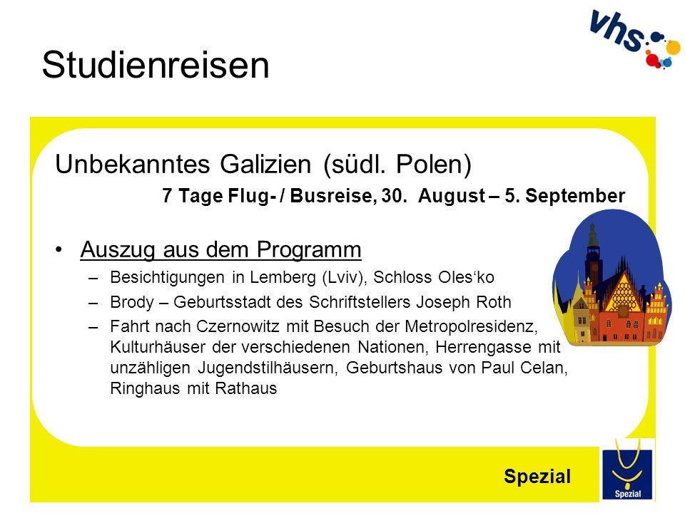 Studienreisen Unbekanntes Galizien (südl. Polen)