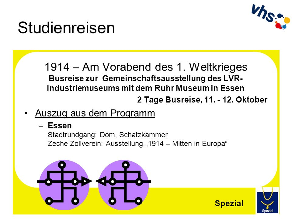 Studienreisen 1914 – Am Vorabend des 1. Weltkrieges Busreise zur Gemeinschaftsausstellung des LVR-Industriemuseums mit dem Ruhr Museum in Essen.