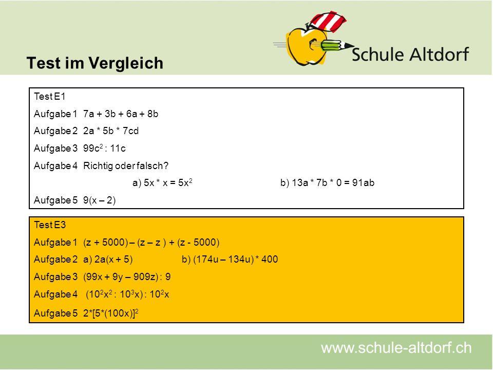 Test im Vergleich Test E1 Aufgabe 1 7a + 3b + 6a + 8b