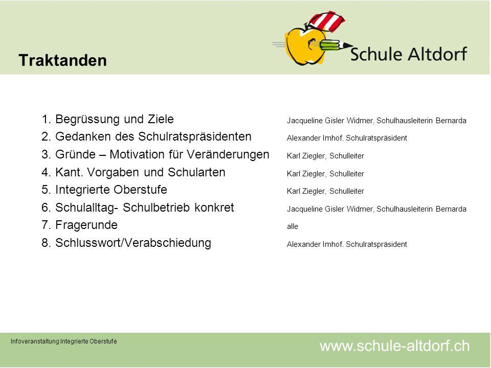 Traktanden 1. Begrüssung und Ziele Jacqueline Gisler Widmer, Schulhausleiterin Bernarda.