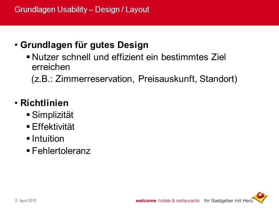 Grundlagen Usability – Design / Layout
