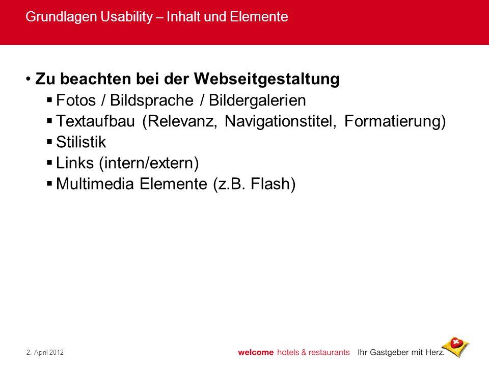 Grundlagen Usability – Inhalt und Elemente