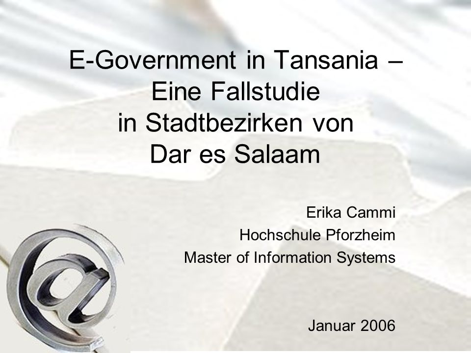 E-Government in Tansania – Eine Fallstudie in Stadtbezirken von Dar es Salaam