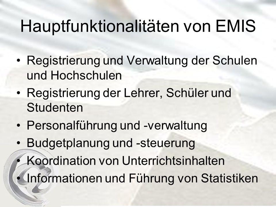 Hauptfunktionalitäten von EMIS