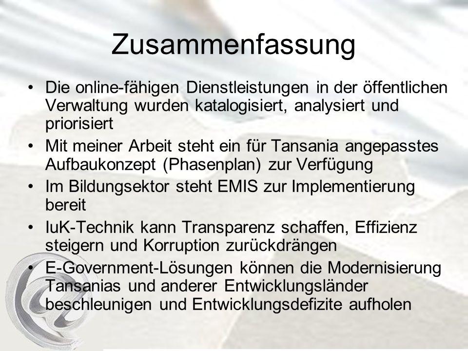 Zusammenfassung Die online-fähigen Dienstleistungen in der öffentlichen Verwaltung wurden katalogisiert, analysiert und priorisiert.