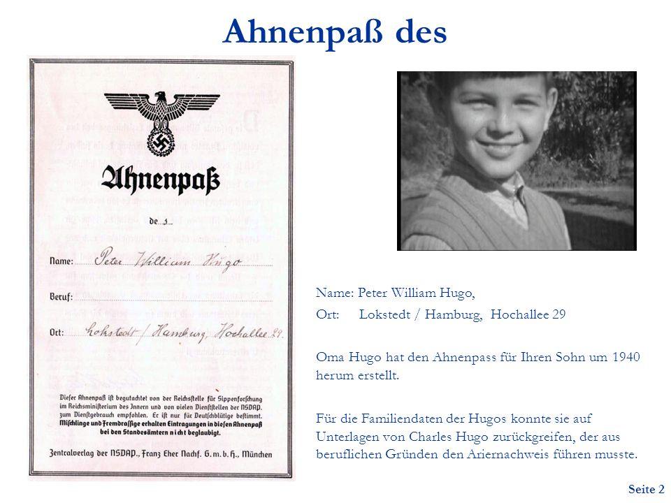 Ahnenpaß des Name: Peter William Hugo,