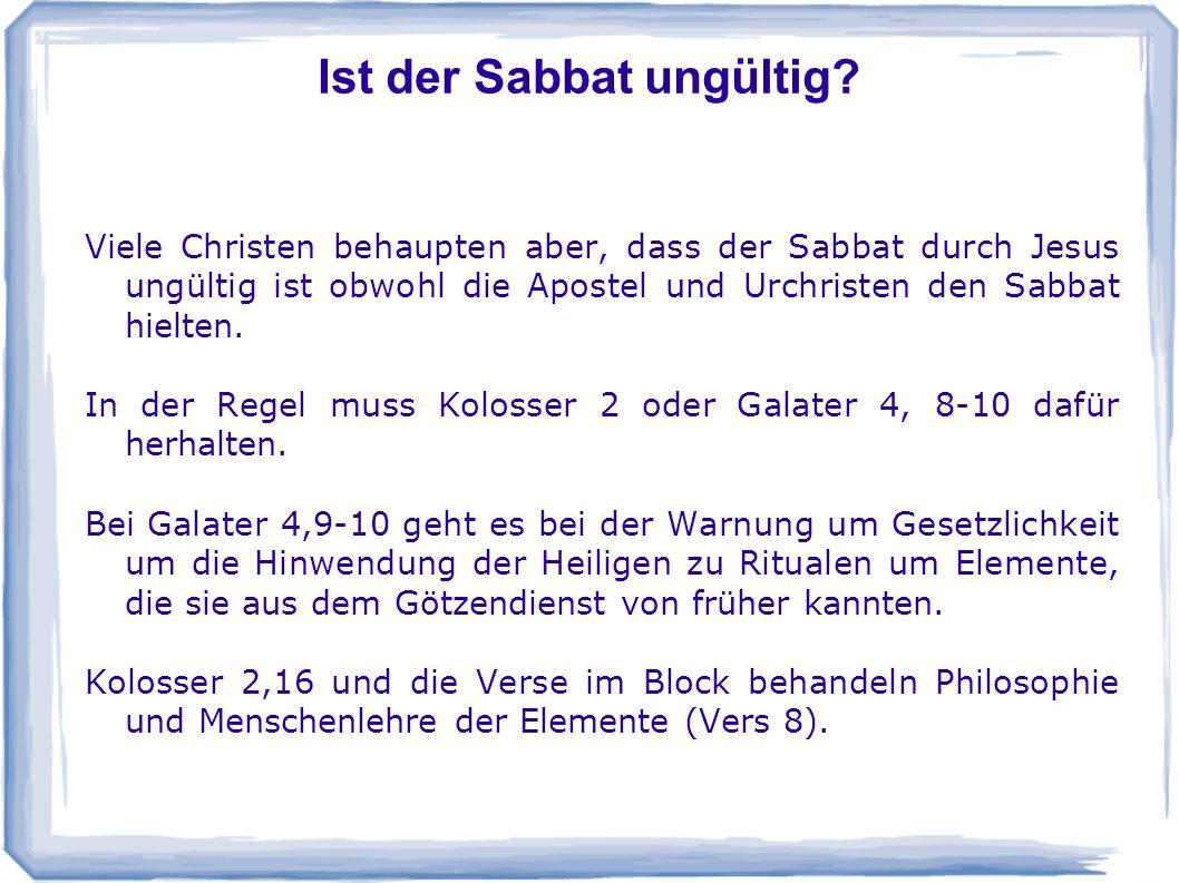 Ist der Sabbat ungültig