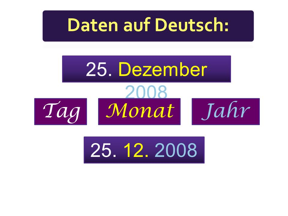 Daten auf Deutsch: 25. Dezember 2008 Tag Monat Jahr 25. 12. 2008