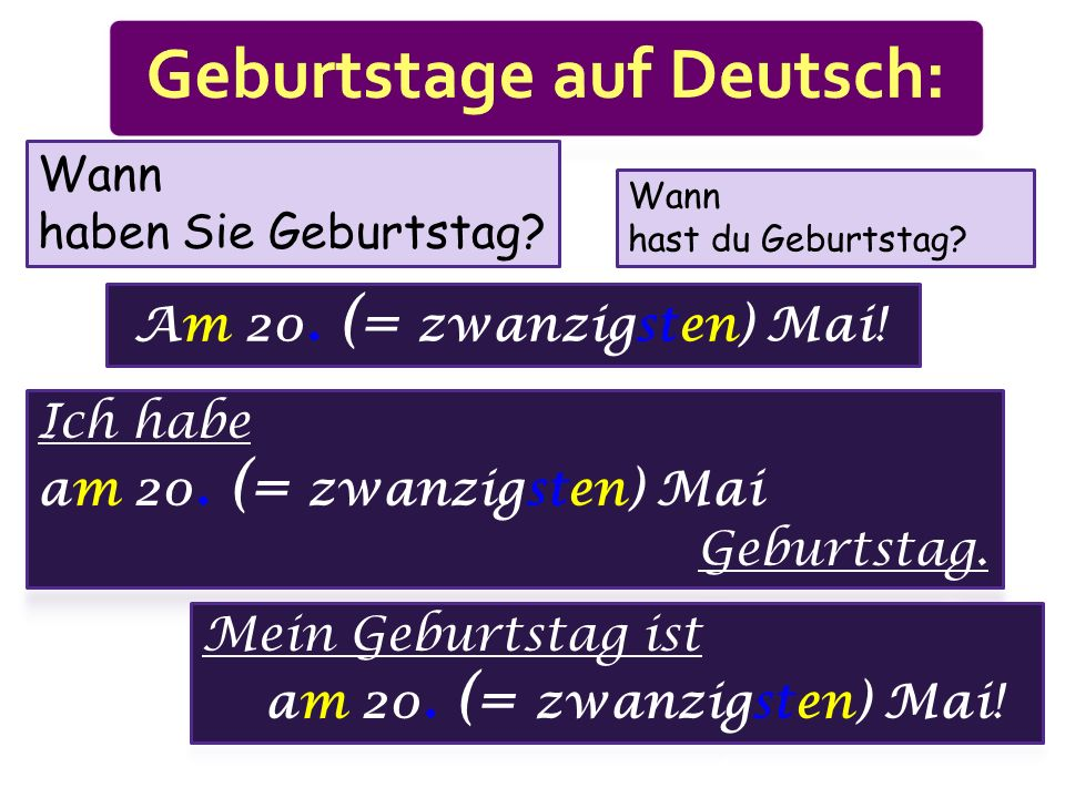 Geburtstage auf Deutsch: