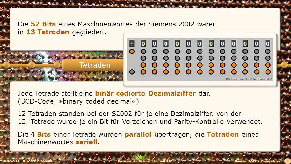 Tetraden Die 52 Bits eines Maschinenwortes der Siemens 2002 waren