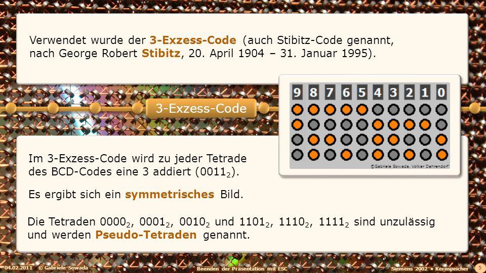 Verwendet wurde der 3-Exzess-Code (auch Stibitz-Code genannt, nach George Robert Stibitz, 20. April 1904 – 31. Januar 1995).