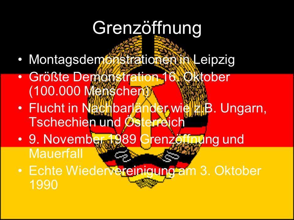 Grenzöffnung Montagsdemonstrationen in Leipzig