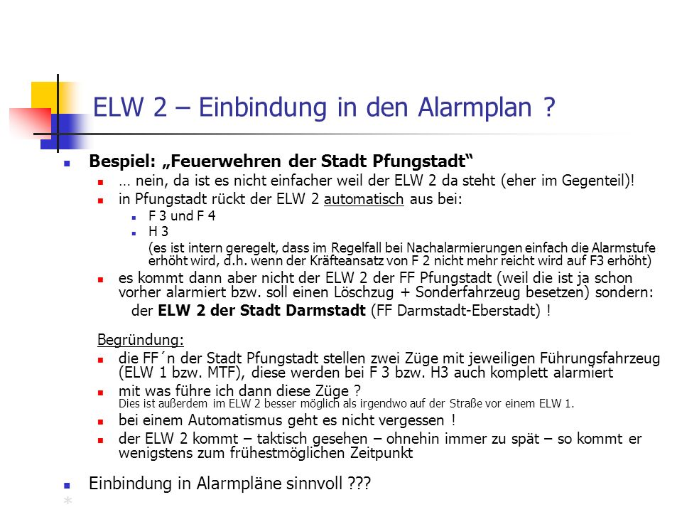 ELW 2 – Einbindung in den Alarmplan