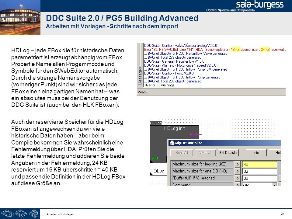 DDC Suite 2.0 / PG5 Building Advanced Arbeiten mit Vorlagen - Schritte nach dem Import