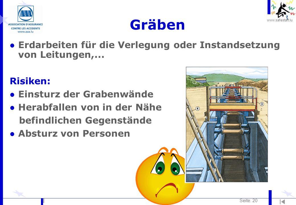 Gräben Erdarbeiten für die Verlegung oder Instandsetzung von Leitungen,... Risiken: Einsturz der Grabenwände.