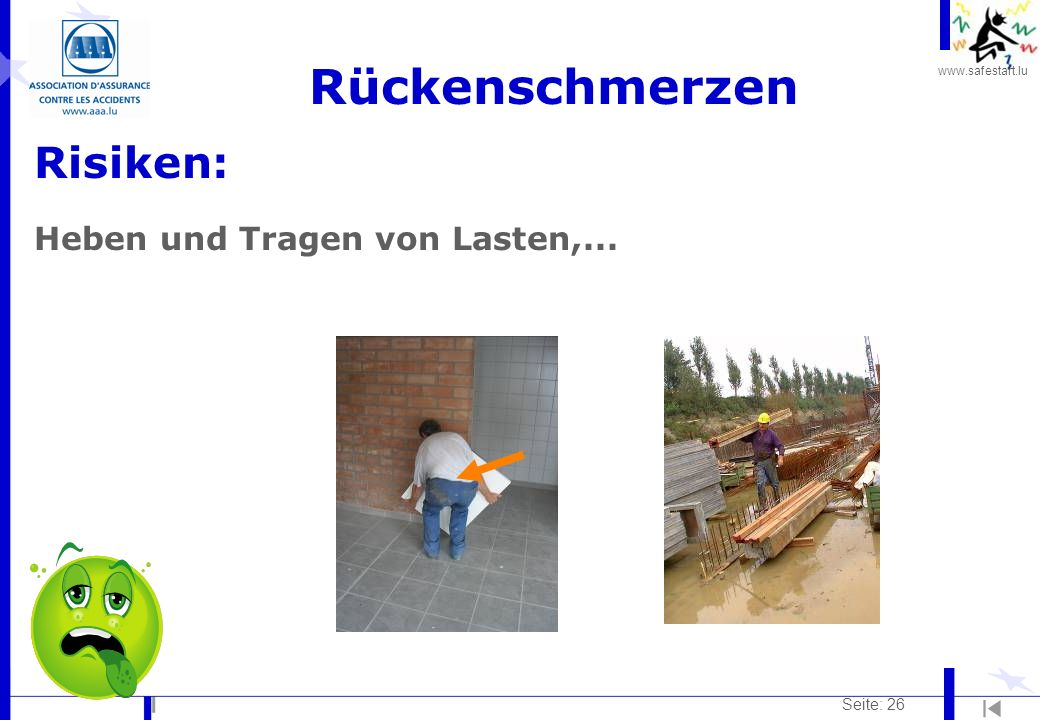 Rückenschmerzen Risiken: Heben und Tragen von Lasten,... Seite: 26